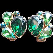 Gorgeous Green Rhinestone Vintage Earrings