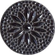 Large Victorian Black Glass Button