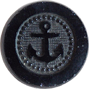 Antique Victorian Black Glass Anchor Button