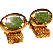 Awesome Vintage GREEN STONE Mesh Wrap Cufflinks