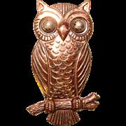 Sassy Vintage BELL TRADING POST Copper Owl Brooch