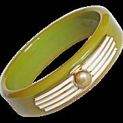 Gorgeous BAKELITE Green Vintage Bangle Bracelet