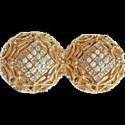 Signed HOBE Faux Seed Pearl & Rhinestone Vintage Earrings