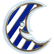 Signed TRIFARI Enamel Crescent Moon Vintage Brooch