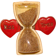 Awesome KISS TIMER Vintage Celluloid Mechanical Brooch