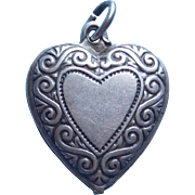Vintage 1940s Sterling Puffy Heart Charm - Double Sided