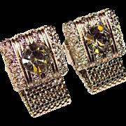 Super Cool Vintage RHINESTONE Mesh Wrap Cufflinks