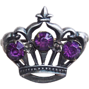 Tiny CROWN Sterling & Purple Stones Pin