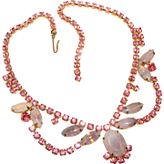 Fabulous PINK & LAVENDER Opalescent Rhinestone Vintage Necklace