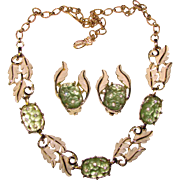Fabulous EMMONS Vintage FROSTED GREEN GLASS Rhinestone Necklace Set