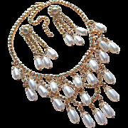 Fabulous Faux Pearl & Aurora Rhinestone Vintage Necklace Set