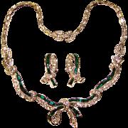Fabulous BOUCHER Green Baguette Rhinestone Necklace & Earrings Set