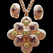 Vintage Sarah Coventry Yellow & Topaz Rhinestone Necklace Set