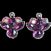 Gorgeous Purple & Aurora Rhinestone Vintage Estate Earrings