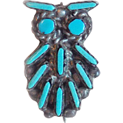 Vintage Sterling & Turquoise TINY OWL Pin