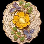 Gorgeous Filigree & Enamel Vintage Dress Clip Brooch