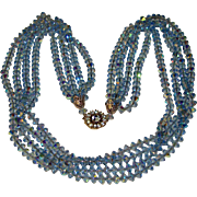 Fabulous BERGERE Blue Aurora Crystal Signed 4 Strand Vintage Long Necklace