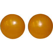 Awesome BAKELITE Amber Colored Vintage Earrings