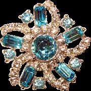Fabulous Aqua & Clear Rhinestone Vintage Pin Brooch