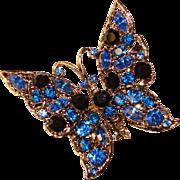 Fabulous BUTTERFLY Blue Rhinestones Vintage Brooch