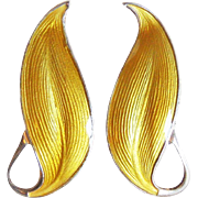 Sterling & Yellow Enamel Scandinavian Vintage Earrings