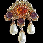 Fabulous Amber Rhinestone & Faux Pearl Dangle Vintage Brooch