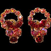Gorgeous RED & PINK Aurora Rhinestone Vintage Earrings