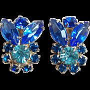 Gorgeous Blue & Aqua Rhinestone Vintage Earrings