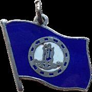 Sterling & Enamel Virginia Flag Vintage Charm