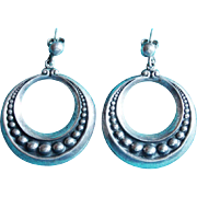 Fabulous Mexican Sterling Hoop Pierced Vintage Earrings