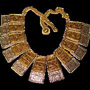 Fabulous KJL Kenneth Lane Egyptian Design Collar Necklace