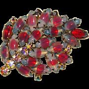 Fabulous OPALESCENT GIVRE GLASS Vintage Rhinestone Brooch