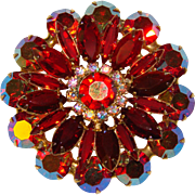Fabulous D&E JULIANA Vintage Red & Aurora Rhinestone Brooch