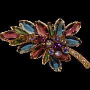 Fabulous D&E JULIANA Vintage Blue & Purple Rhinestone Brooch