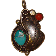 Beautiful STERLING TURQUOISE & Coral Vintage Pendant