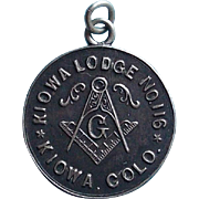 Antique Sterling MASONIC Kiowa Lodge Fob Pendant or Charm