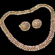 Fabulous TRIFARI Signed Clear Rhinestone Vintage Necklace Set