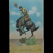 Ride 'Em Cowboy Vintage Linen Postcard