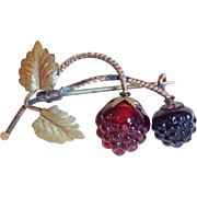 Antique Victorian Glass Berry Brooch