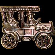 Awesome STERLING CAR Signed Vintage Lang Brooch