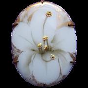 Gorgeous Antique Handpainted Porcelain Lily Brooch
