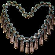 Fabulous CORNFLOWER BLUE Celluloid & Metal Dangle Necklace