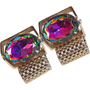Gorgeous Watermelon Rhinestone Vintage Cufflinks