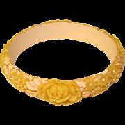 Gorgeous CREAM CELLULOID Flowered Vintage Bangle Bracelet