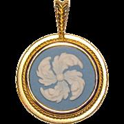 Gorgeous WEDGWOOD Signed Jasperware Blue & White Vintage Pendant