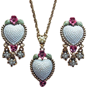 Gorgeous 1928 Signed Heart Necklace Set