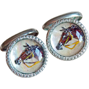 Art Deco Horse Domed Glass Vintage Cufflinks