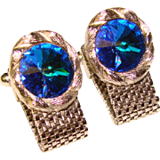 Awesome Vintage BLUE RIVOLI Rhinestone Wrap CUFFLINKS
