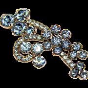 Fabulous D&E JULIANA Blue Rhinestone Vintage Pin Brooch