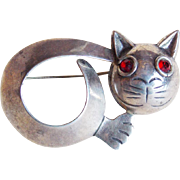 Mexican Sterling CAT Signed Parra Vintage Brooch - 1 3/4""